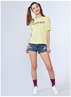 Ecko Unltd Ecko Unlimited Kadın Yeşil Bisiklet Yaka T-Shirt